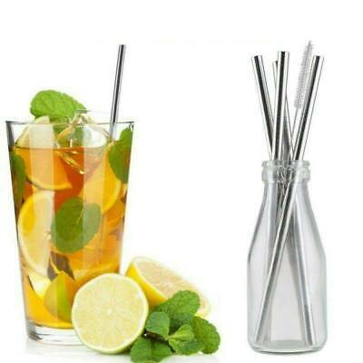 4 Straight Reusable Drinking Straws Metal Stainless Steel Eco-Friendly 26.6 cm