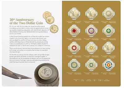 💰2018 Aust. 30th Anniversary Of The $2 TWO DOLLAR COIN - Twelve Coin Collection