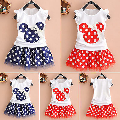 2PCS Toddler Kids Baby Girls Outfit Set Minnie Mouse Dress Skirts&T-Shirts Vest