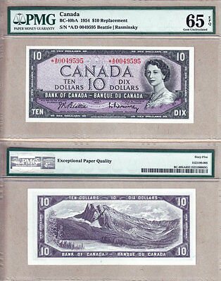 1954 $10 *A/D REPLACEMENT Beattie Rasminsky BC-40bA PMG GEM UNC65EPQ