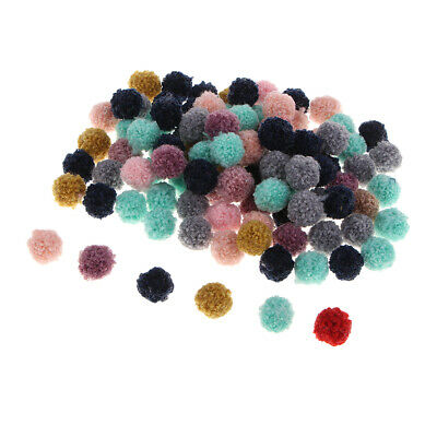 100pcs Pompons Mixed Colours for DIY Headwear, Errings, Keyring Card Making