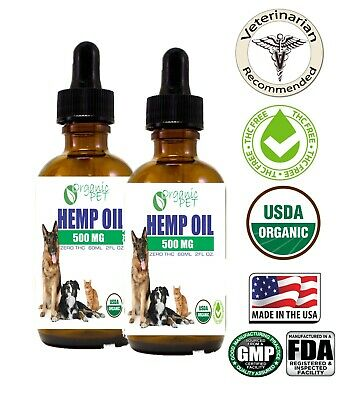 Organic Hemp Seed Oil for Dogs n Cats Pets Stress Anxiety Pain Relief 500mg 2oz