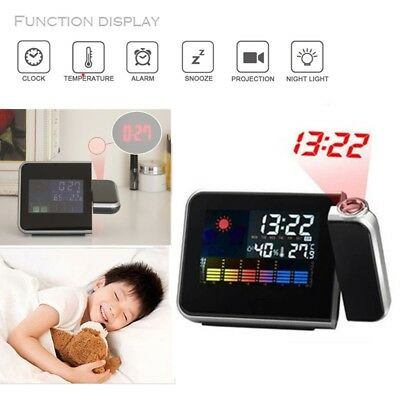 Projection Digital Alarm Clock LCD Snooze Weather Thermometer Control Color LED