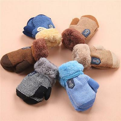 Winter Warm Kids Toddlers Baby Boys Girls Thick Fur Gloves Neck String Mitten YU