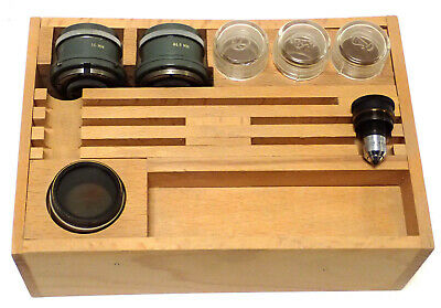 COOKE MICROSCOPE OBJECTIVES ASSORTED SIZES, 4MM, 4/8MM & MISC. w/ WOOD BOX ++