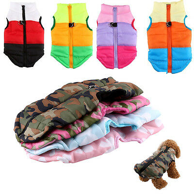 Pet Cat Dog Puppy Soft Cotton Padded Vest Harness Wadded Jacket Costume Outwear