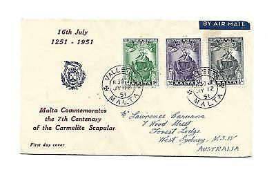 Malta ( VIII Cent.of Scapular ) 1951 Set of 3 stamps on First Day Cover