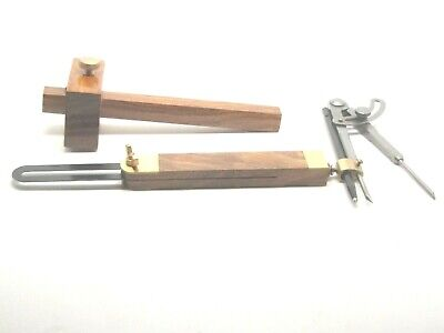 """Ramelson Mortise/Marking Gauge, 9"""" Sliding Bevel, and 6"""" Wing Compass w/ Carbide"""