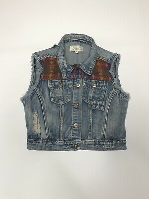 Chiqle Girls Small Vest Blue Denim Aztec Print South Western Button Front