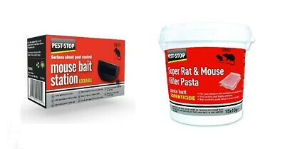 PROFESSIONAL RODENT BAIT STATION BOX NO TRAP & PASTA BAIT POISON Rat Mouse Mice