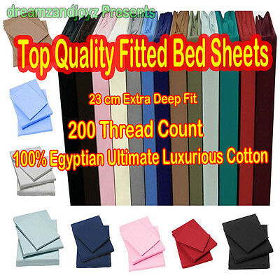 200 Thread Count 100% Egyptian Cotton Fitted Bedding Sheet 23 CM Deep Fitted LUX