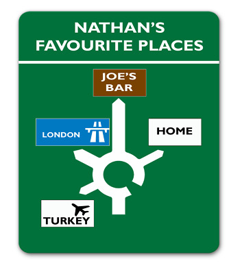 Roundabout road sign favourite places personalised metal custom unique gift