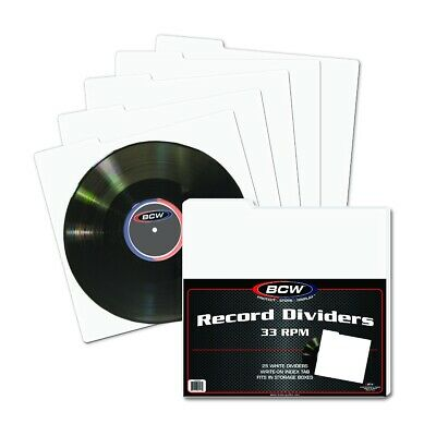 12 Inch Vinyl Album or Single (33RPM) Record Dividers, For Storage & Filing