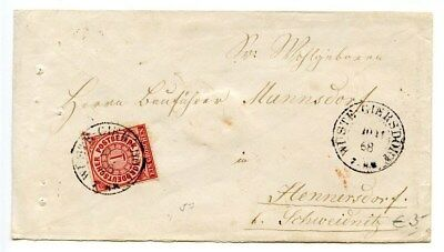 GERMANY-NORTH GERMAN CONFEDERATION=WUSTE GIERSDORF-Hand Cxl-Cover-Scott #4-1868