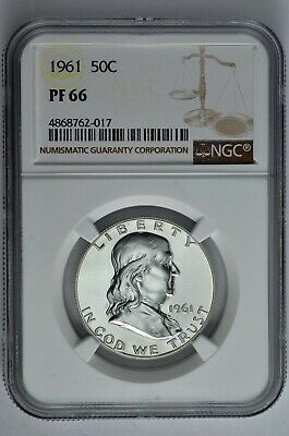 1961 50c Silver Proof Franklin Half Dollar NGC PF 66