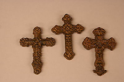 (3) Old World Missionary Crosses, Christian Wall Decor, Rustic cast Iron Cross