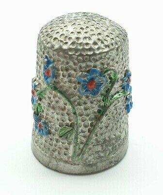 Vintage Stephen Frost Hand Painted Pewter Thimble Flowers Design