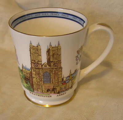 AYNSLEY BONE CHINA MUG QUEEN ELIZABETH II 25th WEDDING ANNIVERSARY 1947-1972