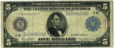 FR. 851A 1914 $5 Federal Reserve Note New York Blue Seal Large Size Note