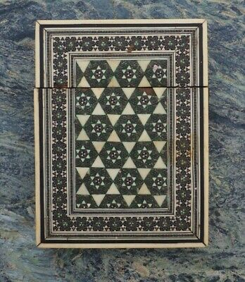 Antique 19Th Century Anglo Indian Islamic Inlaid Micro Mosaic Calling Card Case