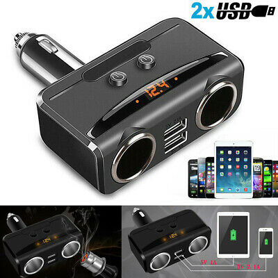 12v 2 Way Car Cigarette Lighter Power Dual Plug Socket Charger Adapter USB Port