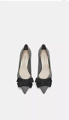829e649321e NEW ZARA KITTEN MID-HEEL SQUARE PLAID PRINT SHOES GREY With Bow Size ...