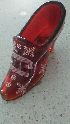 fenton signed buckle shoe candy cane Christmas marked RARE