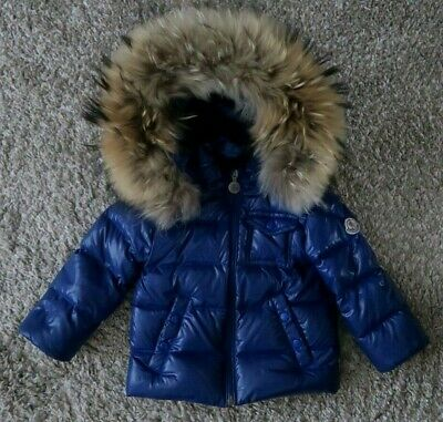 Authentic Moncler puffa boy jacket coat real fur trim salopettes a gift 12-18m.o