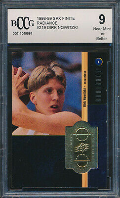 1998-99 SPX Finite Radiance /1500 #219 Dirk Nowitzki Rookie Card Graded BCCG 9
