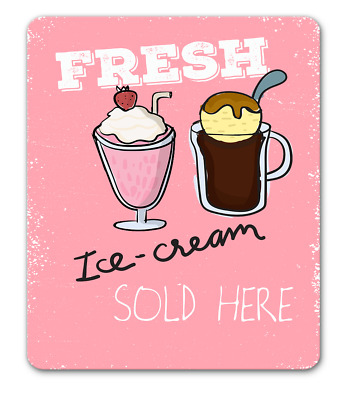 Fresh ice cream sign pink retro american diner style hanging or fixed