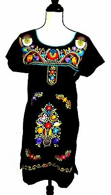 Mexico Black Dress Short embroidered multi-color Puebla Boho Peasant Sz M/L NWT