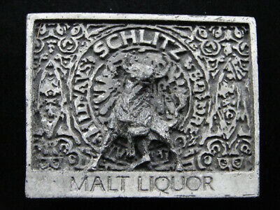 RH01118 VINTAGE 1970s **SCHLITZ MALT LIQUOR** BEER ADVERTISEMENT BELT BUCKLE