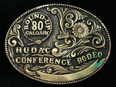 Rc07126 Vintage 1980 **Hudac Conference Rodeo** Solid Brass Belt Buckle