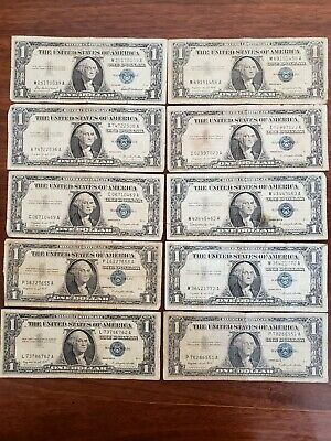 #EE   Lot of 10 OLD 1957 Series US Silver Certificates $1 Note