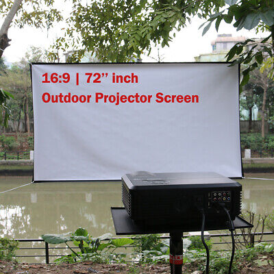 72'' Projector Screen 16:9 Outdoor HD Projection Home Theater Movie Matte White