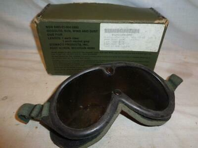 Vintage STEMACO NSN 8465-01-004-2893 Military Goggles Sun, Wind And Dust