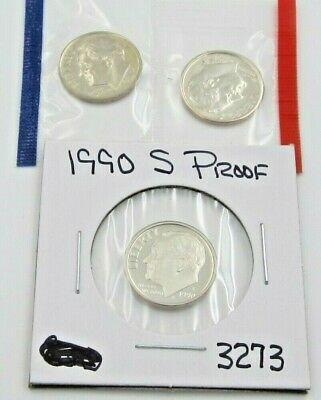 1990 P D & S Roosevelt Dime Set - PD Mint Cello / S Proof - 3 coins (3273)