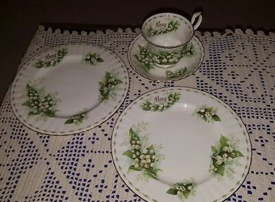 Royal Albert China Cup Saucer/ Plates May Flower of the Month Lily of the Valley