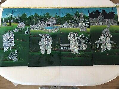 4 Vintage Oriental Asian Lacquer Mother of Pearl Wood Hanging Wall Panels