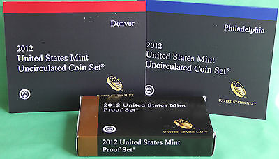 2012 Proof and Uncirculated Annual US Mint Coin Sets PDS 42 Coins FREE SHIP USA