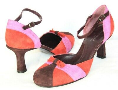 22b70f94cd2 Via Spiga Red Pink Maroon Suede Ankle Strap D Orsay Pumps SZ 8.5