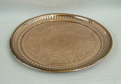 Unusual Antique Sankey Art Metalware Copper Drinks Tray With Pierced Edge Js&s.