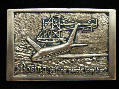 PE03126 VINTAGE 1970s **BOEING** AIRCRAFT & AVIATION SOLID BRASS BELT BUCKLE