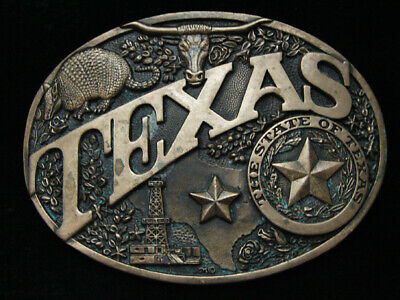 PF21174 VINTAGE 1980s **TEXAS** STATE COMMEMORATIVE SOLID BRASS BELT BUCKLE