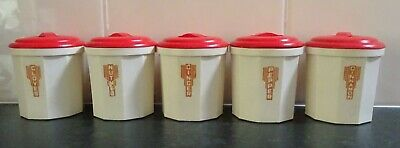 Set Of 5 Red/cream Iplex Spice Canisters In Excellent Condition