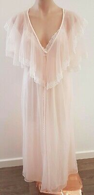 Vintage 80s USA Made Blush PINK Lace Trim Nylon Long Dressing Gown ROBE size S