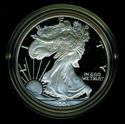 2004-W United States American Silver Eagle Dollar w/ Box & CoA PROOF