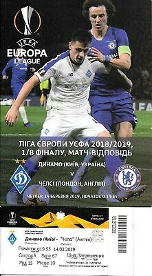 Ticket & Official Programme Dynamo Kiev v Chelsea Europa League 2018/19