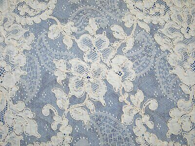 "Antique c1920 French Alencon Net Lace Runner Hand Made 35 x 15"" Exquisite!"