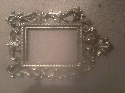 Vintage Antique Small Ornate Solid Brass Picture Frame Victorian(?)